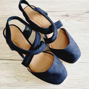 H&M cap toe suede espadrille wedges size 5½